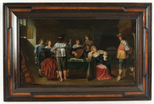 Merry company, 17th c. Flemish school, oil on panel
