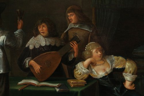 Paintings & Drawings  - Merry company, 17th c. Flemish school, oil on panel
