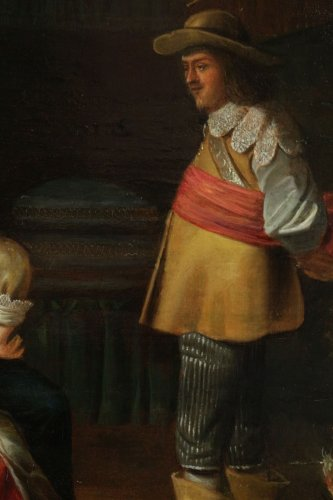 Merry company, 17th c. Flemish school, oil on panel -