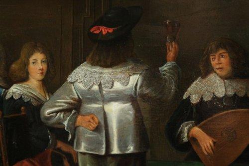 - Merry company, 17th c. Flemish school, oil on panel