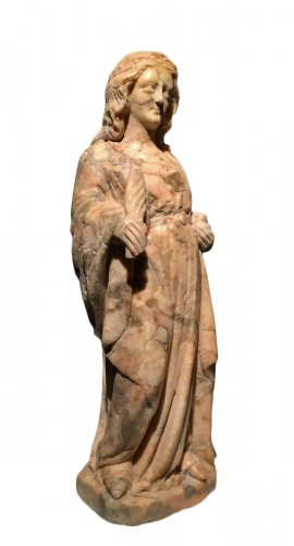 A 14th century Cologne marble carved figure of a female saint