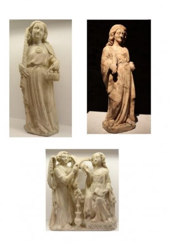 A 14th century Cologne marble carved figure of a female saint -