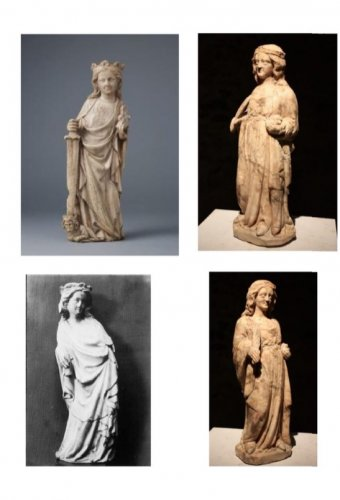 16th century - A 14th century Cologne marble carved figure of a female saint