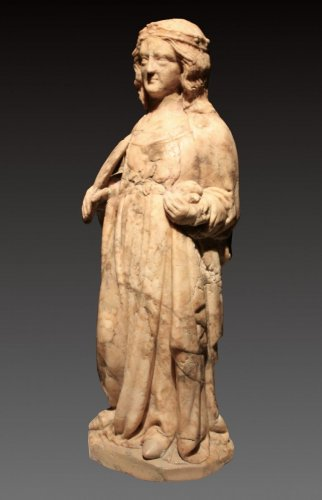 Middle age - A 14th century Cologne marble carved figure of a female saint