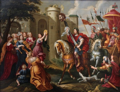 Triumph of David - Oil on copper 17th century - Attributed to Peter Sion