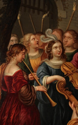 Triumph of David - Oil on copper 17th century - Attributed to Peter Sion - Paintings & Drawings Style