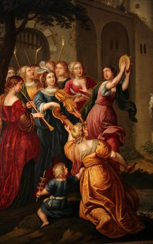 17th century - Triumph of David - Oil on copper 17th century - Attributed to Peter Sion