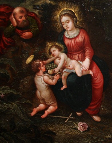 Paintings & Drawings  - 17th century oil on copper, Holy Family, attributed to Peter Von Avont