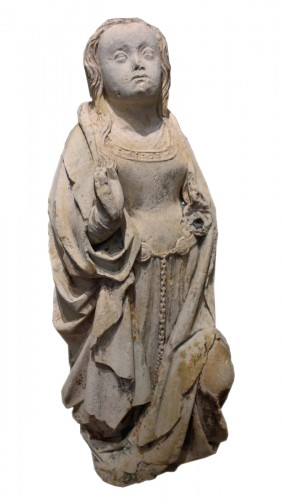 Early 16th century Burgundy carved stone Virgin of the Annunciation