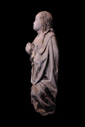 Sculpture  - Early 16th century Burgundy carved stone Virgin of the Annunciation