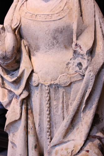 Early 16th century Burgundy carved stone Virgin of the Annunciation -