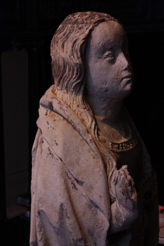 - Early 16th century Burgundy carved stone Virgin of the Annunciation
