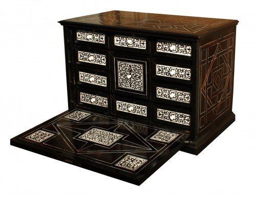17th Century Italian Ivory And Ebony Inlaid Cabinet