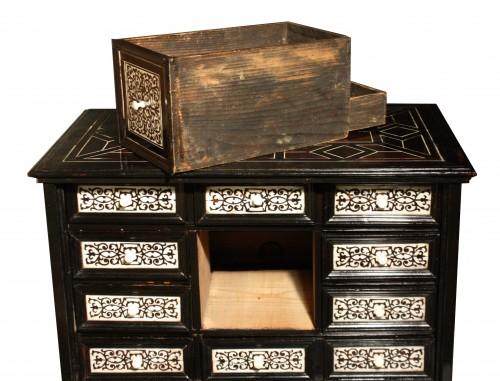 17th Century Italian Ivory And Ebony Inlaid Cabinet -