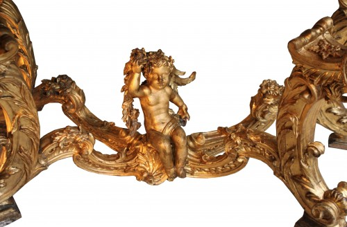 Early 18th c. Florentine carved giltwood console table - Furniture Style Louis XIV