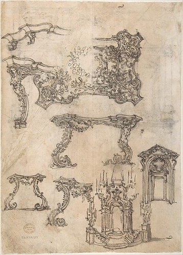 Antiquités - Early 18th c. Florentine carved giltwood console table