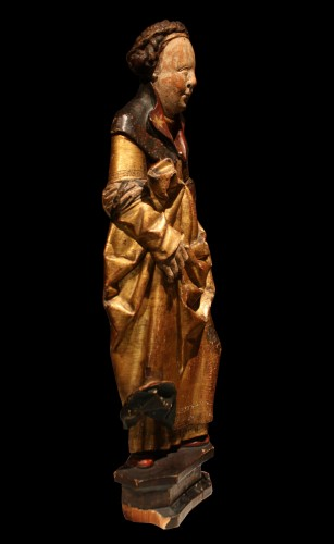 Late 15th Early 16th Flemish Wood Carving Of St Ursula - Sculpture Style Middle age