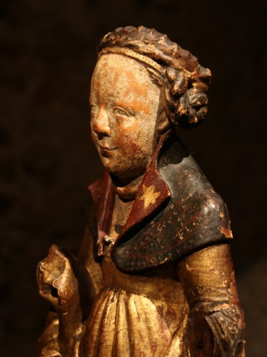 Late 15th Early 16th Flemish Wood Carving Of St Ursula -
