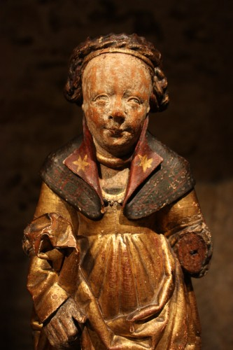 16th century - Late 15th Early 16th Flemish Wood Carving Of St Ursula