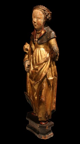 Antiquités - Late 15th Early 16th Flemish Wood Carving Of St Ursula