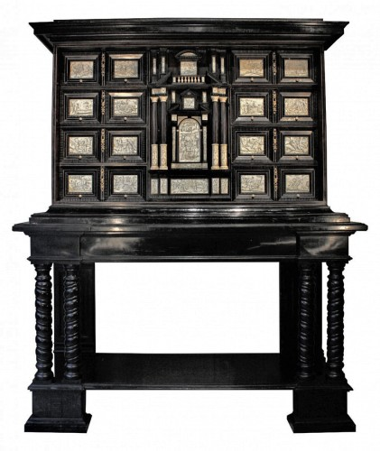 Early 17th c. Neapolitan ebony and engraved ivory cabinet
