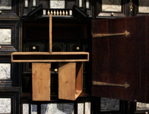 Early 17th c. Neapolitan ebony and engraved ivory cabinet -