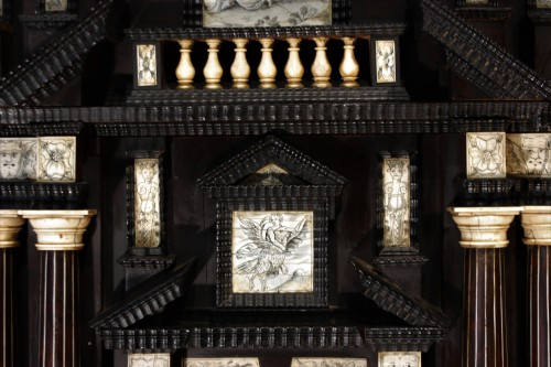 - Early 17th c. Neapolitan ebony and engraved ivory cabinet