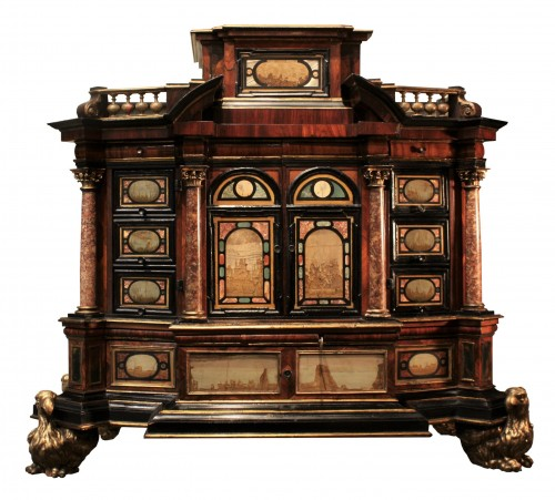 A 17th c. Augsburg hard stones inlaid cabinet