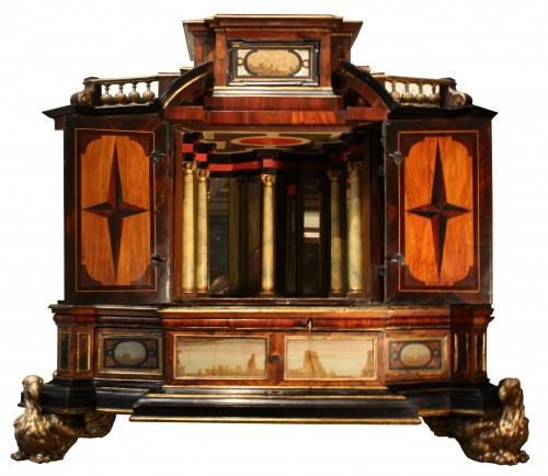 A 17th c. Augsburg hard stones inlaid cabinet - Furniture Style