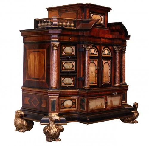 Furniture  - A 17th c. Augsburg hard stones inlaid cabinet