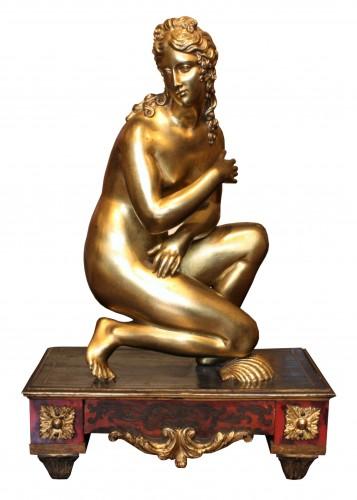 Late 17th C. Gilt Bronze Crouching Venus