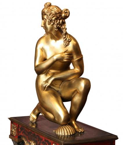 Late 17th C. Gilt Bronze Crouching Venus -