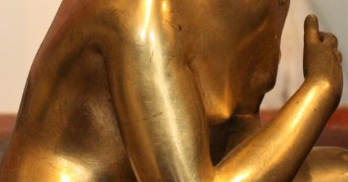 Antiquités - Late 17th C. Gilt Bronze Crouching Venus