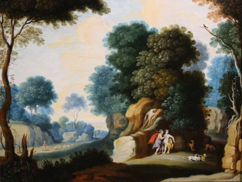 Landscape, Oil On Panel, Workshop Of Paul Bril, 17th Century