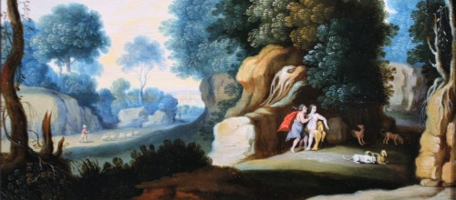 17th century - Landscape, Oil On Panel, Workshop Of Paul Bril, 17th Century