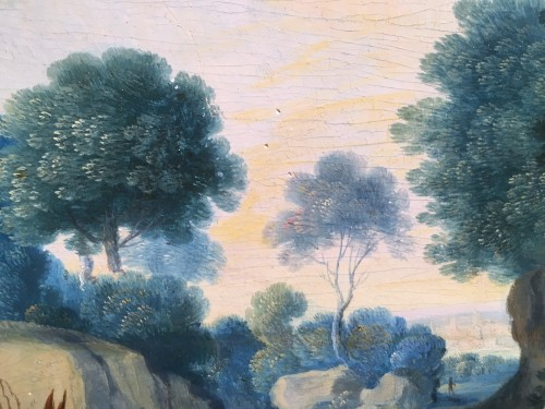 - Landscape, Oil On Panel, Workshop Of Paul Bril, 17th Century