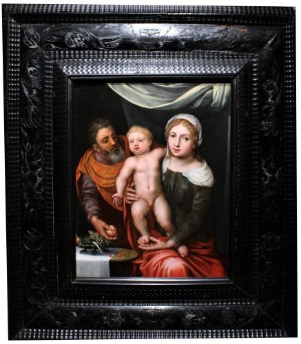 Renaissance - A 16th c. Antwerp school - Holy Family - oil on panel