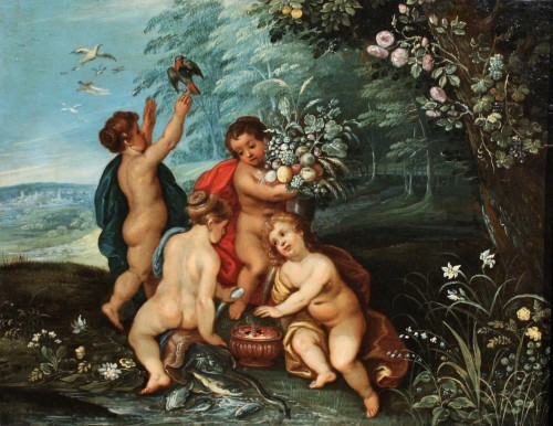 17th c Allegory Of The Four Elements circle Of J. Brueghel And H. Van Balen