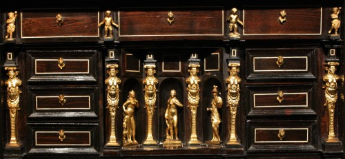 Antiquités - Early 17th Century Augsbourg Rosewood And Ivory Inlaid Cabinet