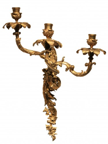 Lighting  - Mid 19th Century Pair Of Fine Gilt Bronze Wall Sconces