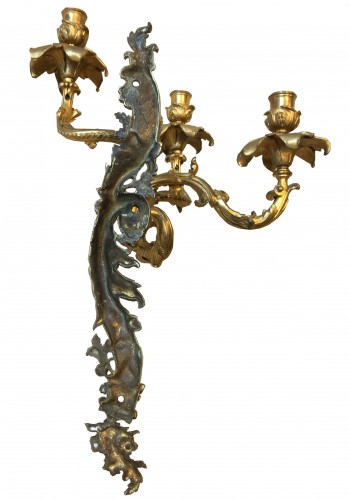 Mid 19th Century Pair Of Fine Gilt Bronze Wall Sconces  -