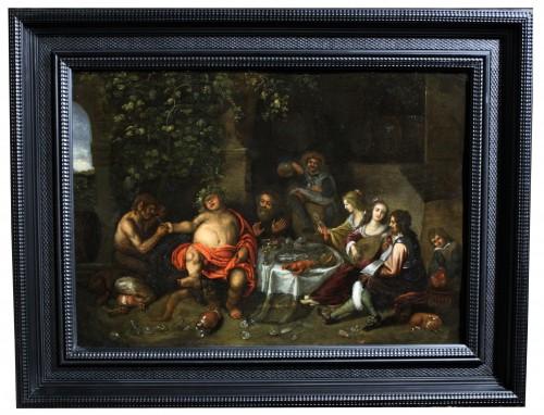Workshop of Simon de Vos (1603-1676), allegory of five senses, Antwerp,17th - Paintings & Drawings Style