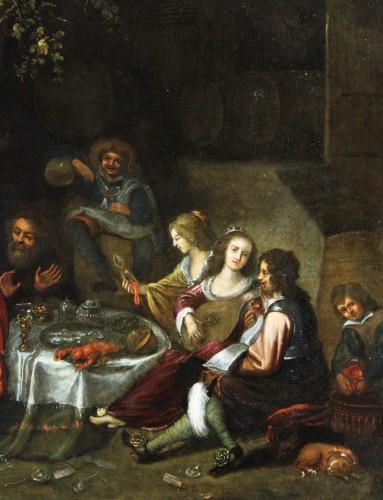 Workshop of Simon de Vos (1603-1676), allegory of five senses, Antwerp,17th -