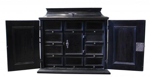 17th c. Flemish ebony travel cabinet -