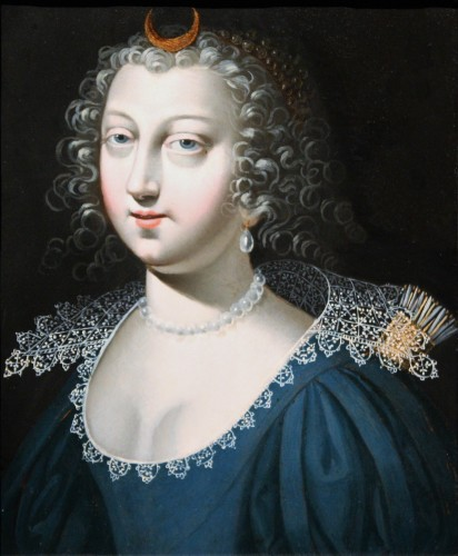 A 17th C. Portrait Of Anne Of Austria As Diana, Attributed To Claude Deruet - Paintings & Drawings Style Louis XIII