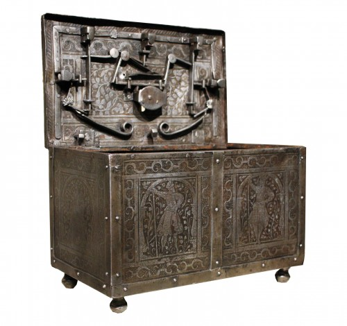 16th C. Nuremberg Etched Iron Casket