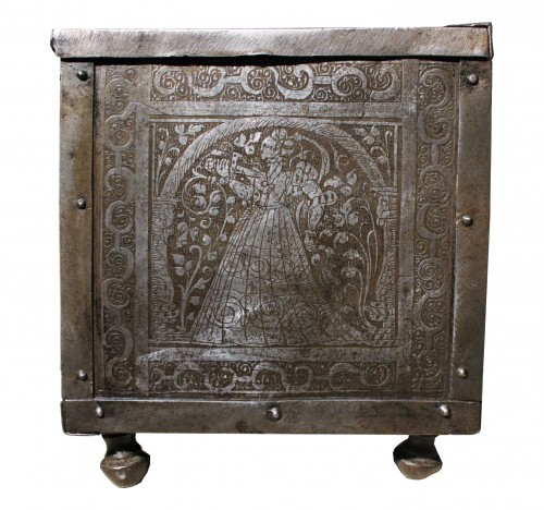 16th C. Nuremberg Etched Iron Casket -