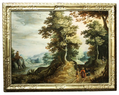 17th Antwerp School, Landscape, Oil On Panel - Paintings & Drawings Style Louis XIII