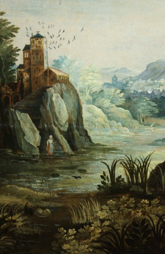 Louis XIII - 17th Antwerp School, Landscape, Oil On Panel
