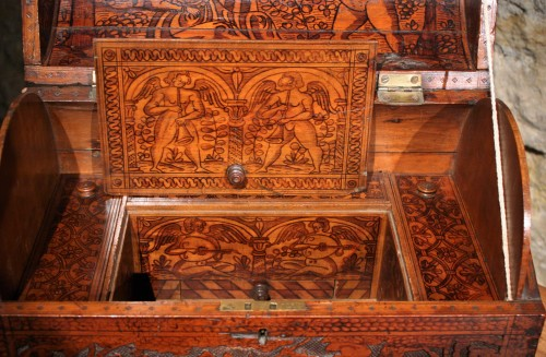 Curiosities  - 16th C. Venetian Cedar Engraved Casket With Secrets